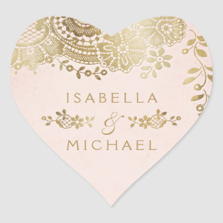 Gold blush elegant vintage lace wedding favor heart sticker
