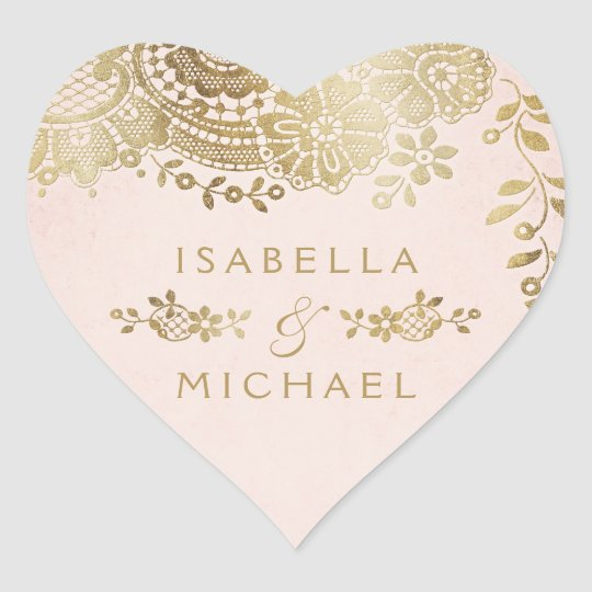 Gold blush elegant vintage lace wedding favour heart