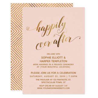 Gold & Blush Happily Ever After Post Wedding Card