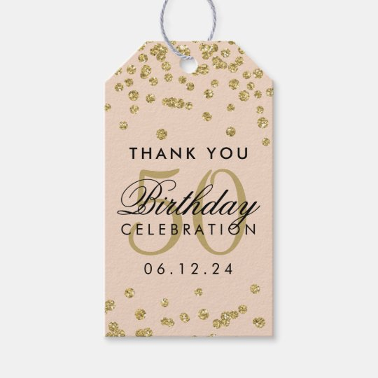 Gold Blush Pink 50th Birthday Thank You Confetti Gift Tags