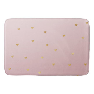 Gold Blush Pink Ombre Hearts Bath Mat