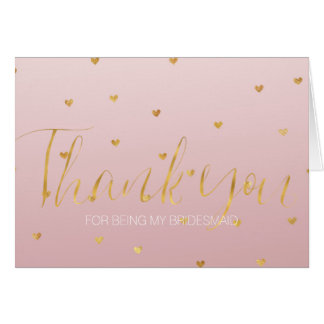 Gold Blush Pink Ombre Hearts Bridesmaid Card