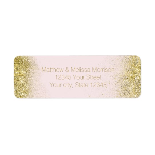 Gold Blush Pink Sparkle Faux Glitter Personalised