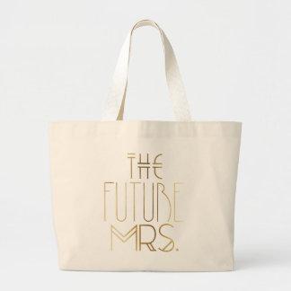 Gold Bohemian Bride | The Future Mrs. Large Tote Bag