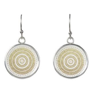 Gold Boho Tribal Circle Mandala Metallic Effect Earrings