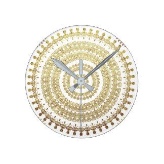 Gold Boho Tribal Circle Mandala Metallic Effect Round Clock
