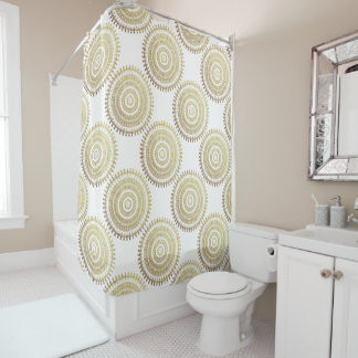 Gold Boho Tribal Circle Mandala Metallic Effect Shower Curtain