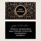 Gold Boho Yoga Instructor | Flower Mandala Pattern Business Card
