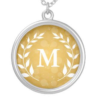 Gold Bokeh and Laurel Monogram Round Pendant Necklace