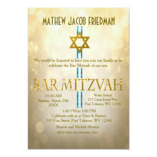 Gold Bokeh | Bar Mitzvah Card