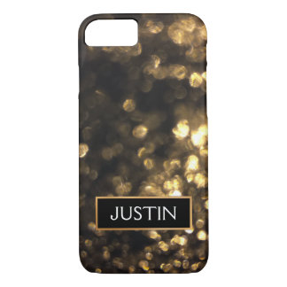 Gold  Bokeh Glitter Personalized  with Name iPhone 8/7 Case
