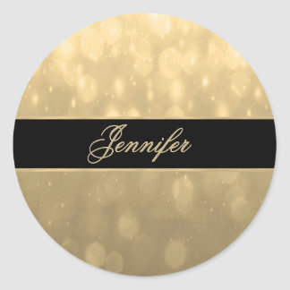 Gold Bokeh Lights Classic Round Sticker