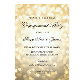 Gold Bokeh Lights Elegant Engagement Party 13 Cm X 18 Cm Invitation Card