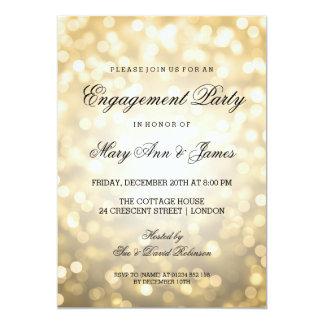 Gold Bokeh Lights Elegant Engagement Party Card