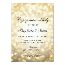 Gold Bokeh Lights Elegant Engagement Party 13 Cm X 18 Cm Invitation Card