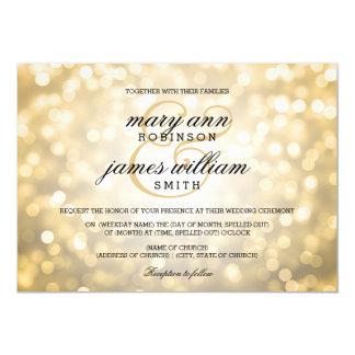 Gold Bokeh Lights Elegant Wedding 13 Cm X 18 Cm Invitation Card