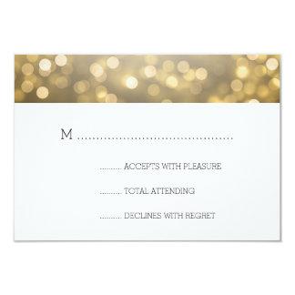 Gold Bokeh Lights Elegant Wedding RSVP Card
