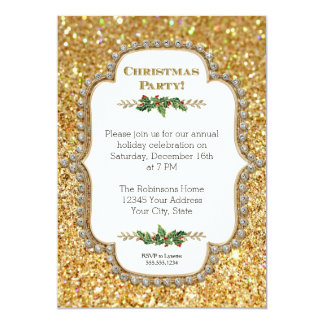 """Gold Bokeh Shimmering Glitter Christmas Party 5"""" X 7"""" Invitation Card"""