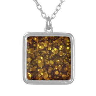 Gold Bokeh Square Pendant Necklace