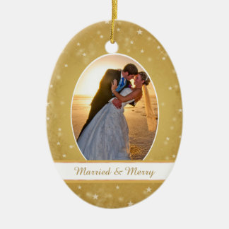 Gold Bokeh Star Frame First Christmas Wedding Christmas Ornament