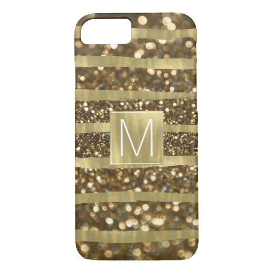 Gold Bokeh Stripes Monogram iPhone 8/7 Case