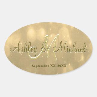 Gold Bokeh | Wedding Monogram Sticker