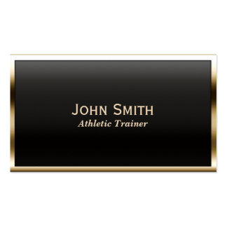 Gold Border Athletic Trainer Business Card