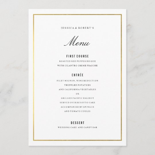 gold border elegant wedding menu card zazzle co uk
