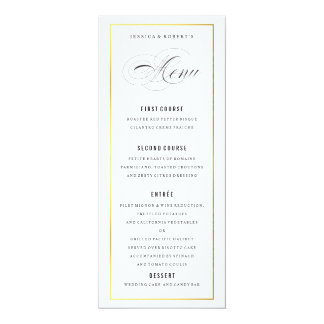 Gold Border Elegant Wedding Menu Card 10 Cm X 24 Cm Invitation Card