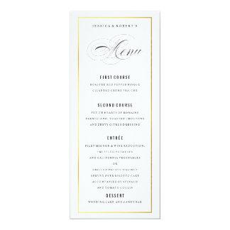 Gold Border Elegant Wedding Menu Card 10 Cm X 24 Cm Invitation Card
