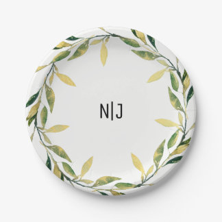 Gold Botanical Green Leaf Wreath Rustic Nature Paper Plate
