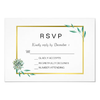 Gold Botanical Succulent RSVP card