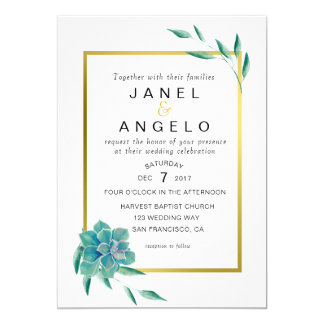 Gold Botanical Succulent Wedding invitation