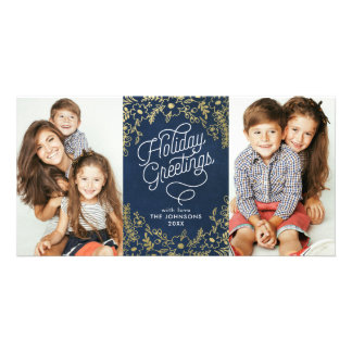 Gold Botanicals Holiday Greetings 2 Photo Photo Greeting Card