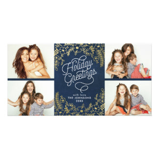 Gold Botanicals Holiday Greetings 4 Photo Customised Photo Card