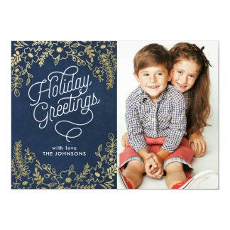 Gold Botanicals Holiday Greetings Photo Card