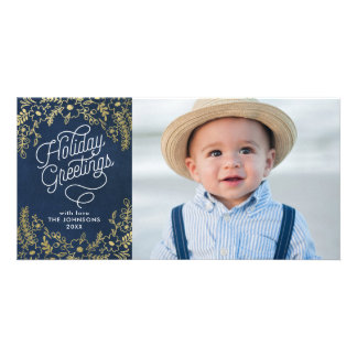 Gold Botanicals Holiday Greetings Photo Personalised Photo Card