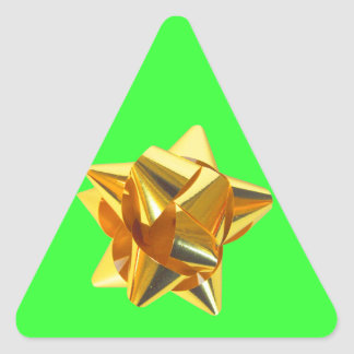 Gold Bow, Gift, Holiday Christmas Ornaments Triangle Sticker