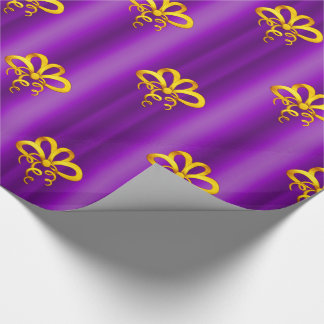 Gold Bows on Purple Christmas Wrapping Paper