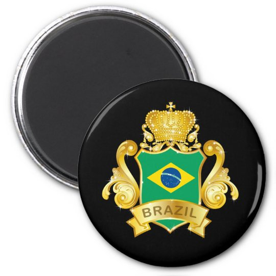Gold Brazil 6 Cm Round Magnet