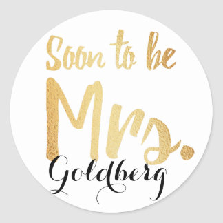 gold bridal last name stickers
