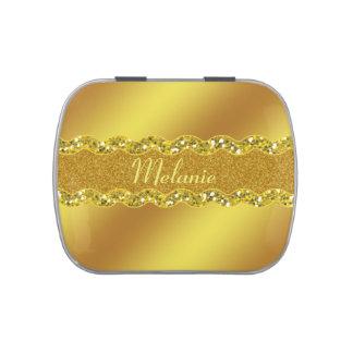 Gold Bridal Shower Favor Wedding Candy Tin Monogra