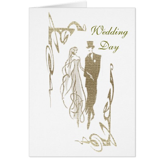 Gold Bride and Groom Wedding Art Card
