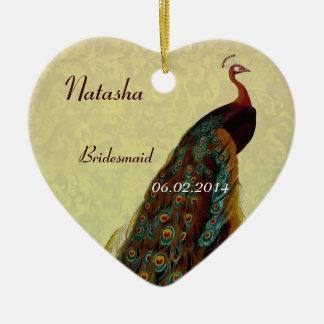 Gold Bridesmaid Thank You Wedding Peacock Ceramic Heart Decoration