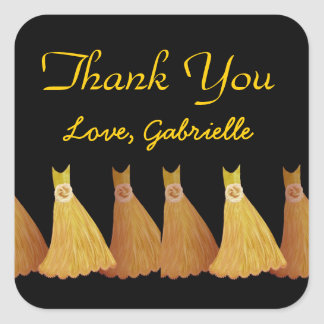 Gold Bridesmaids Thank You Bridal Shower A02 Square Sticker