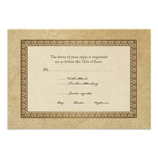 Gold Brocade Damask Floral Formal Elegant RSVP Personalized Invite