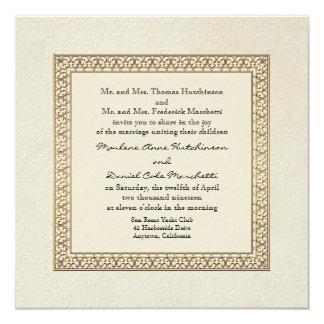 Gold Brocade Damask Floral Formal Elegant Wedding 13 Cm X 13 Cm Square Invitation Card
