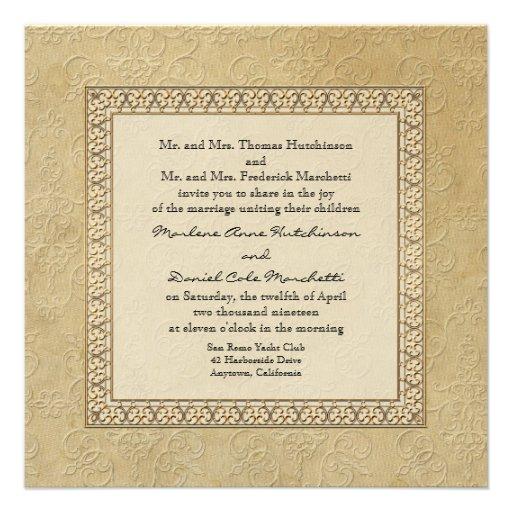 Gold Brocade Damask Floral Formal Elegant Wedding Invitation