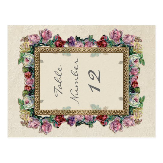 Gold Brocade Floral Formal Elegant Table Numbers Postcard