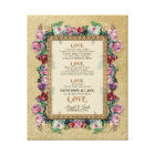 Gold Brocade Floral Love is Wedding Personalised Canvas Print